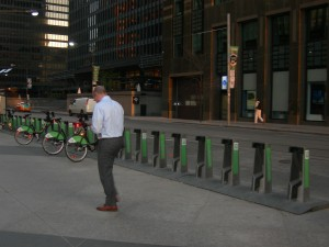Toronto has a bike share program - only a few bicycles are available at this key downtown intersection