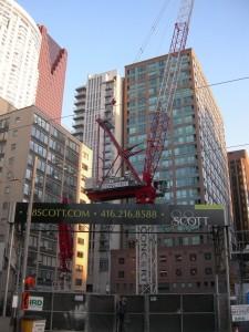 Toronto building cranes