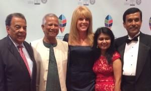 Andrew Young, Muhammad Yunus, Laura Turner Seydel, Shamima Amin and Mohammad Bhuiyan at gala last fall (Photo by Maria Saporta)