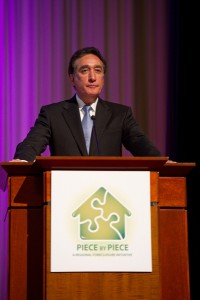 Former HUD Secretary Henry Cisneros delivered the keynote speech at the 2010 Piece by Piece conference, at The Carter Center. Credit: Michael  A. Schwarz