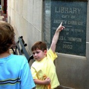 The 1903 cornerstone of the Newnan library