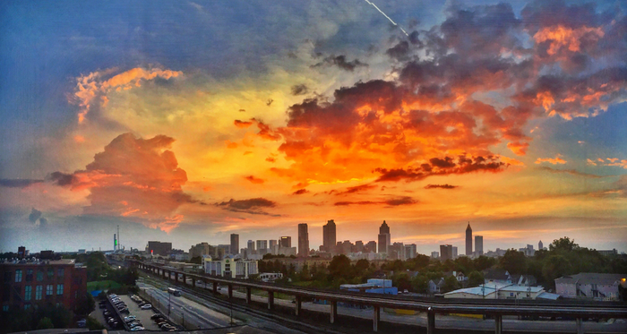 Atlanta was showing off last night! Beautiful sunset as seen from The Stacks in Cabbagetown by Kristin Christakis