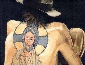 """Illustration of """"Parker's Back"""" by Barry Moser"""