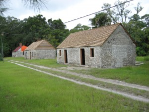 Tabby cabins on Ossabaw Island that were occupied successively between the 1840s until the 1980s by slaves, tenant farmers, then workers for the owners of the island. Photo: courtesy of the Ossabaw Island Foundation