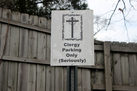 Clergy-only parking behind Manuel's Tavern in Atlanta. Photo: Jimmy Jacobs