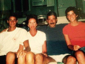 In high school, Ryan Bashor (left) with parents Katie and Mark and younger sister Jessie.