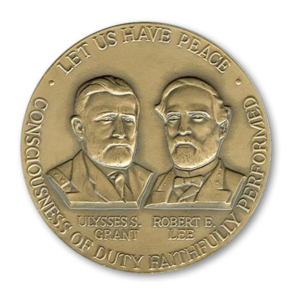 """Let Us Have Peace"" Civil War centennial medal, depicting Ulysses S. Grant and Robert E. Lee, 1961. Image: Georgia Info, Digital Library of Georgia"