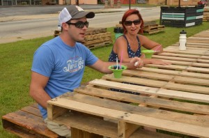 The picnic table at East Atlanta Corner project is made of pallets, the very definition of the low cost materials used in tactical urbanism projects. Credit: Sylvia McAfee