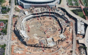 Construction continues at the Falcons stadium, as shown in this photo from June. Credit: newstadium.atlantafalcons.com