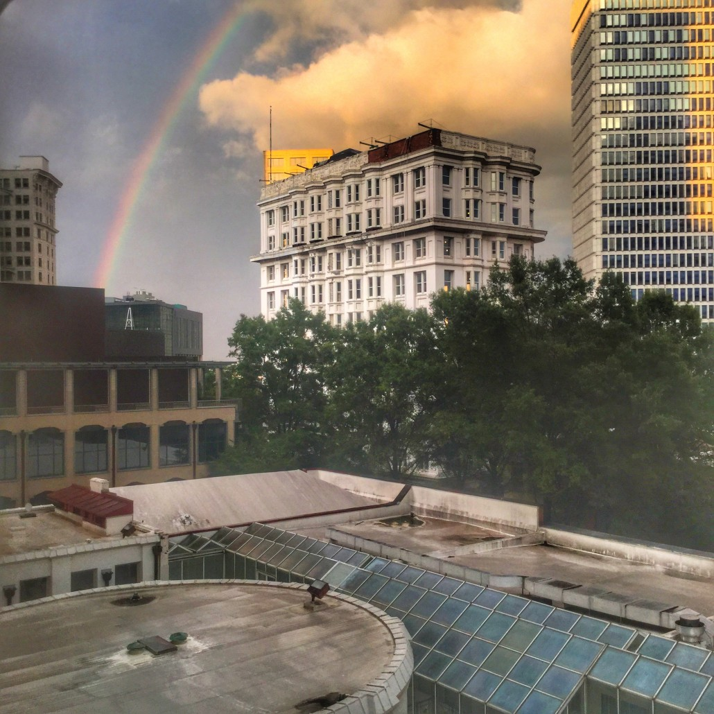 View from the Healey looking at FlatironCity, amidst redevelopment and restoration, and a rainbow and GSU by Wendy Darling