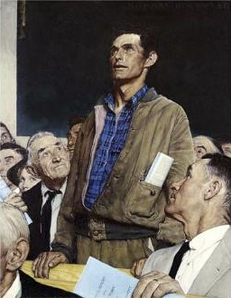 """""""Freedom of Speech,"""" by Norman Rockwell (1943). Photo by Norman Rockwell Museum"""