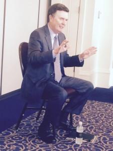 Atlanta Fed President Dennis Lockhart talks to reporters (Photos: Maria Saporta)