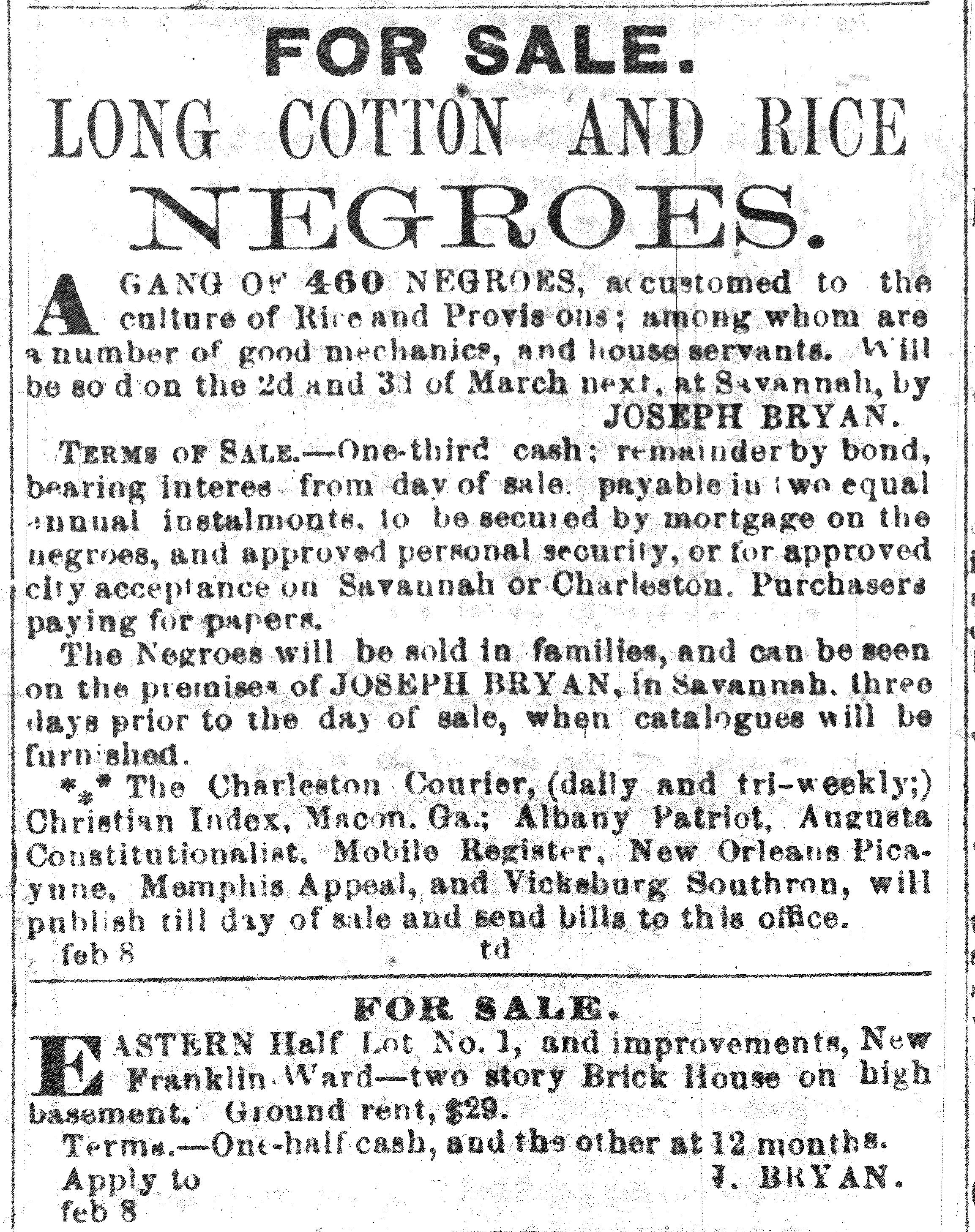 Butler slave sale ad for Tuesday, February 8, 1859, by slave broker Joseph Bryan, Savannah Republican newspaper, page 2, Column D.