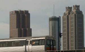 MARTA train with downtown skyline