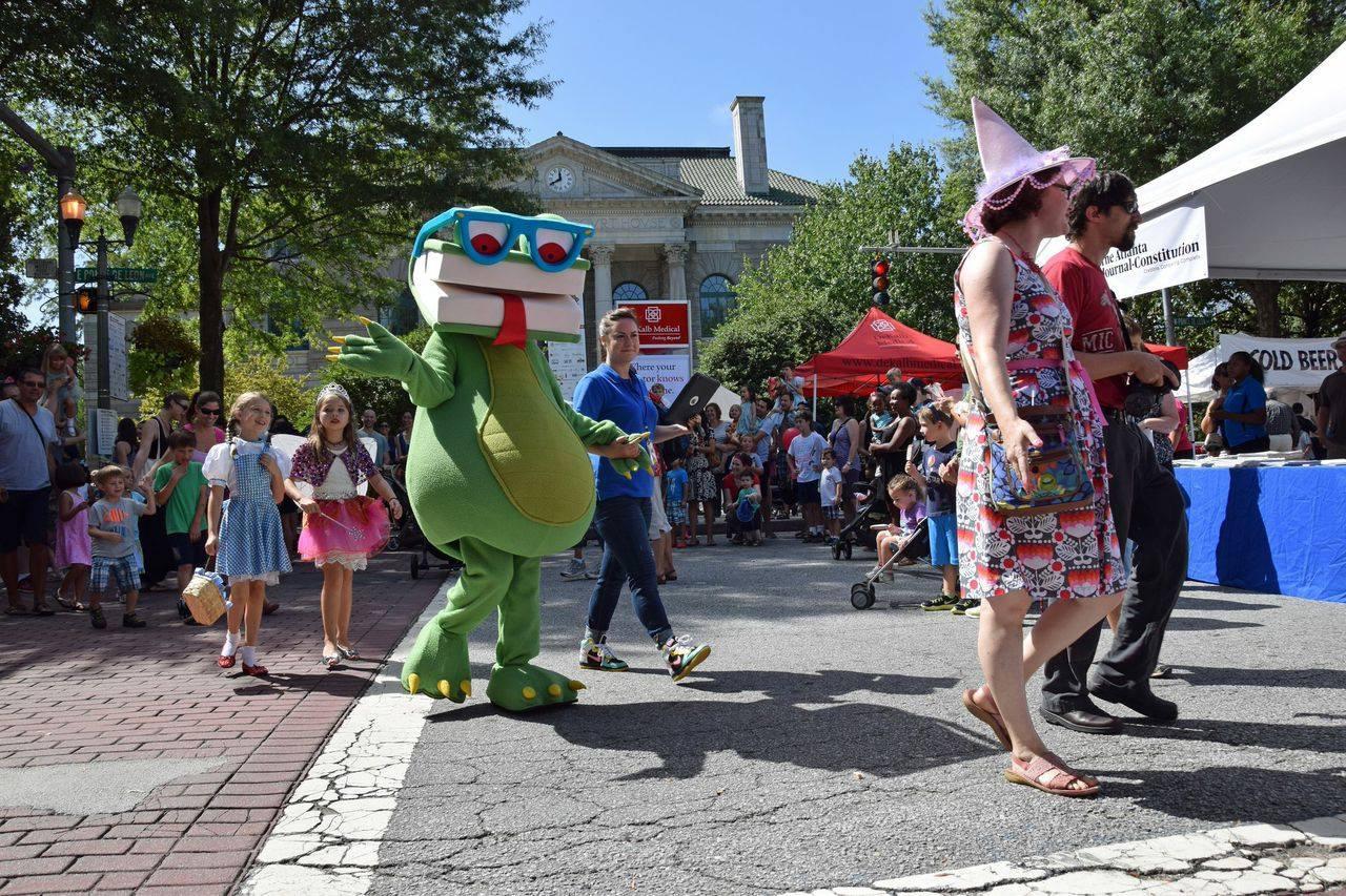 Bookzilla, the mascot of the Decatur Book Festival