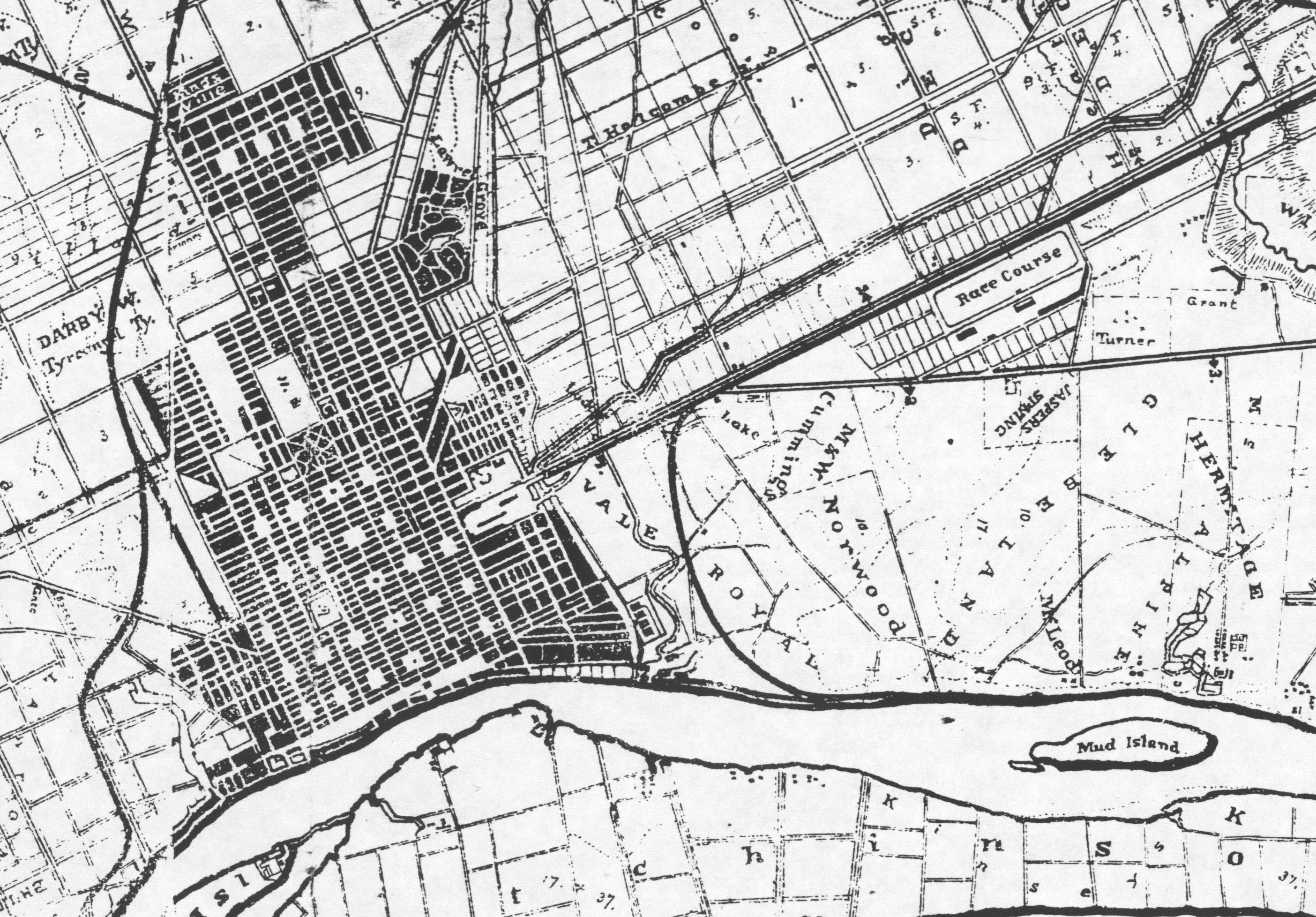 Detail of Platen map (1872) of Savannah, showing location of Ten Broeck Race Course, upper right. Image: Georgia Historical Society