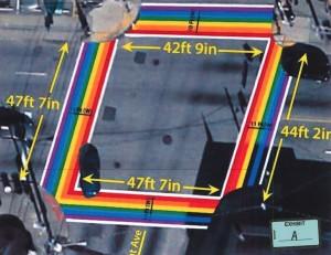 "This rendering of the proposed ""Atlanta Rainbow Crosswalks"" is included in the legislation pending before the Atlanta City Council. Credit: City of Atlanta"