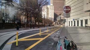 Atlanta's newly appointed chief bicycle officer, Becky Katz, is to oversee the city's efforts to add more bicycle facilities, such as these posts that prevent vehicles from parking in the bike lane on Park Place, in downtown Atlanta. Credit: atlantabike. org