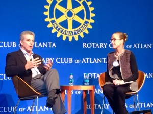 Craig Menear, CEO of the Home Depot, answers questions from colleague Kelly Barrett at Atlanta's Rotary Club (Photos by Maria Saporta)