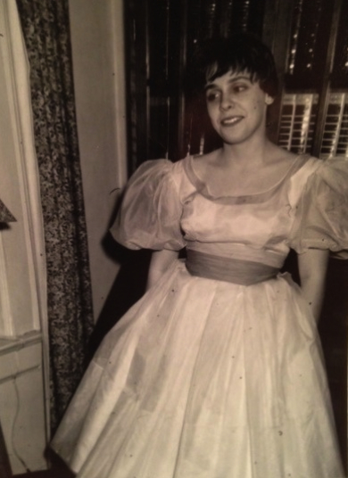 Poet Eve Hoffman in a special yellow dress, 1958. Credit: courtesy of Eve Hoffman