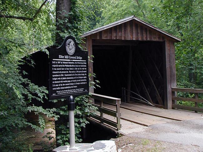 Elder Mill Covered Bridge in Oconee County. Photo by Melinda Smith Mullikin, New Georgia Encyclopedia