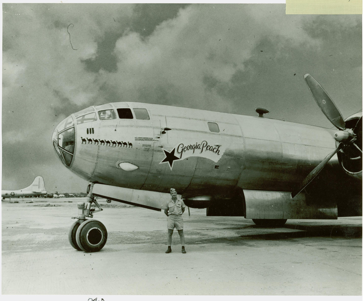 """The """"Georgia Peach,"""" a B-29 bomber built at Bell in Marietta, flown by Major Jack Millar over Japan. Photo: Kennesaw State University Archives"""