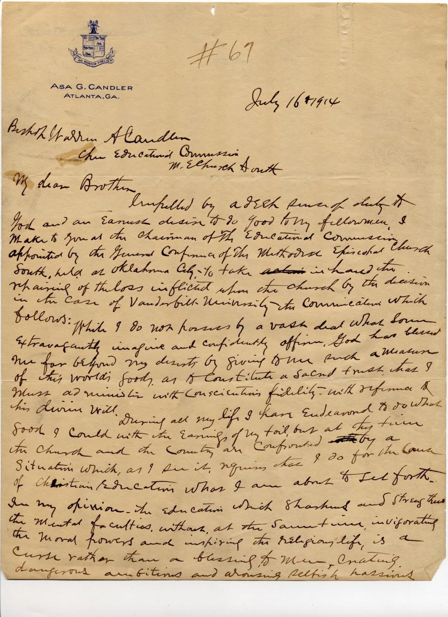 Asa Candler's letter pledging $1 million