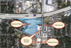 Fuqua Development intends to build a portion of the Atlanta BeltLine near its Glenwood Place development, and extend Faith Avenue across Bill Kennedy Way to Chester Avenue. The road and trail will be deeded by its owner Bel Enso, to the city. Credit: Fuqua Development, David Pendered