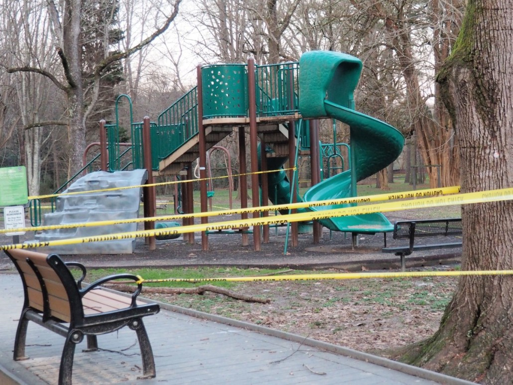 Heavy rains over the Christmas weekend lead the city of Atlanta department of watershed management to close down the playground at Memorial Park in Buckhead because of possible sewage contamination