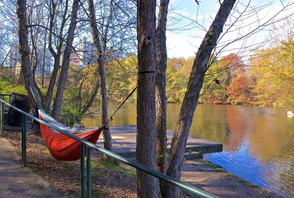 Portable hammock (that conveniently zips shut): check. Paperback book: check. Very pleasant, comfortably warm afternoon at Piedmont Park (this past Sunday): check. This is how you relax on a nice fall day in Atlanta.