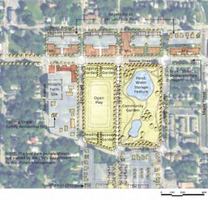 A Health Impact Analysis conducted by the U.S. Environmental Protection Agency envisioned this design for a proposed park along Joseph E. Boone Boulevard. Credit: Boone HIA