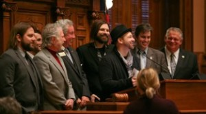 Left to right: Coy Bowles (Zac Brown Band), David Barbe (Sugar, Drive By Truckers), Chuck Leavell (Rolling Stones), Representative Ron Stephens, Mac Powell (Third Day), Kristian Bush (Sugarland), Scott Mills (William Mills Agency), and Speaker of the House David Ralston