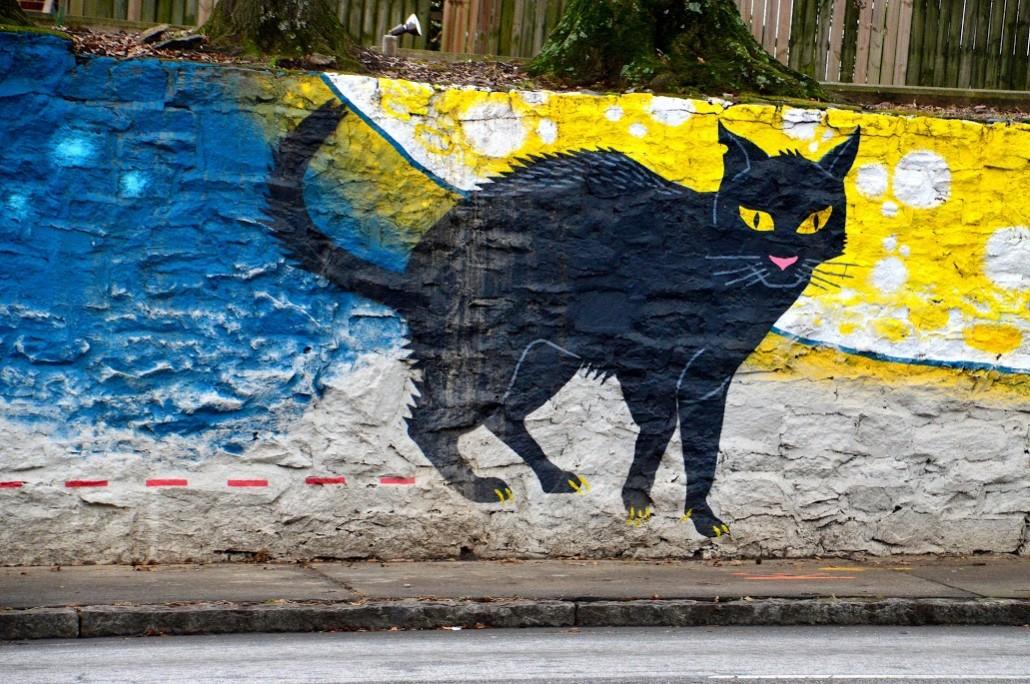 Black cat mural