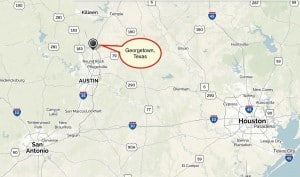 Georgetown is located north of Austin, in the Texas hill country. Credit: David Pendered, mapquest.com