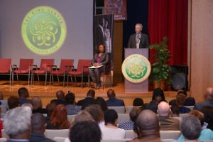 Morris Dees and Bernice King on stage