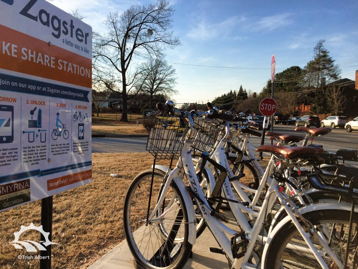 Smyrna Zagster Bicycle Share Station at Taylor-Brawner park.