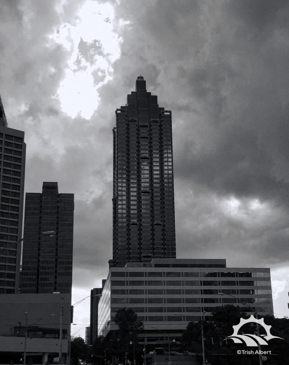 Suntrust Gardens and Plaza surrounded by clouds on a warm spring day.