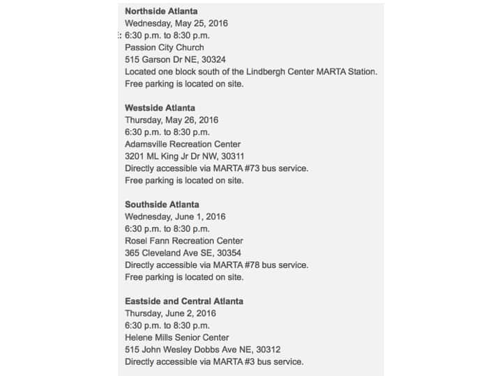 Public meetings, transit and transportation