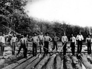 Men rafting timber down the Oconee River, circa 1890. Courtesy of Georgia Archives, Vanishing Georgia Collection