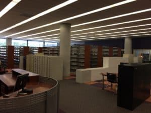 Central Library, empty shelves