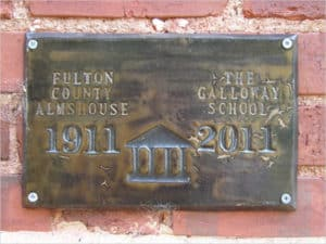 The Galloway School commissioned a plaque marking the building's centennial. Courtesy of The Galloway School