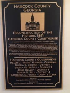Hancock County plaque