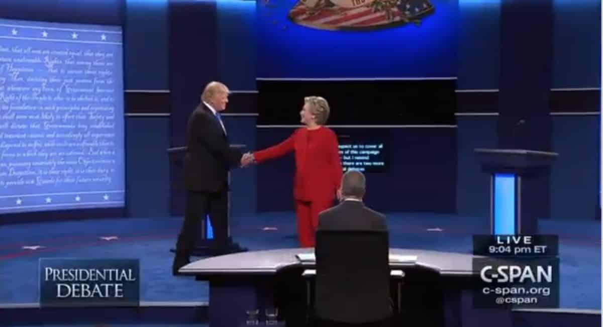 Presidential debate, at outset, 9:26:16