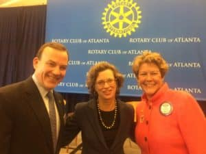 Coca-Cola's Clyde Tuggle, CARE's Michelle Nunn and Martha Brooks at a Rotary lunch (Photo by Maria Saporta)