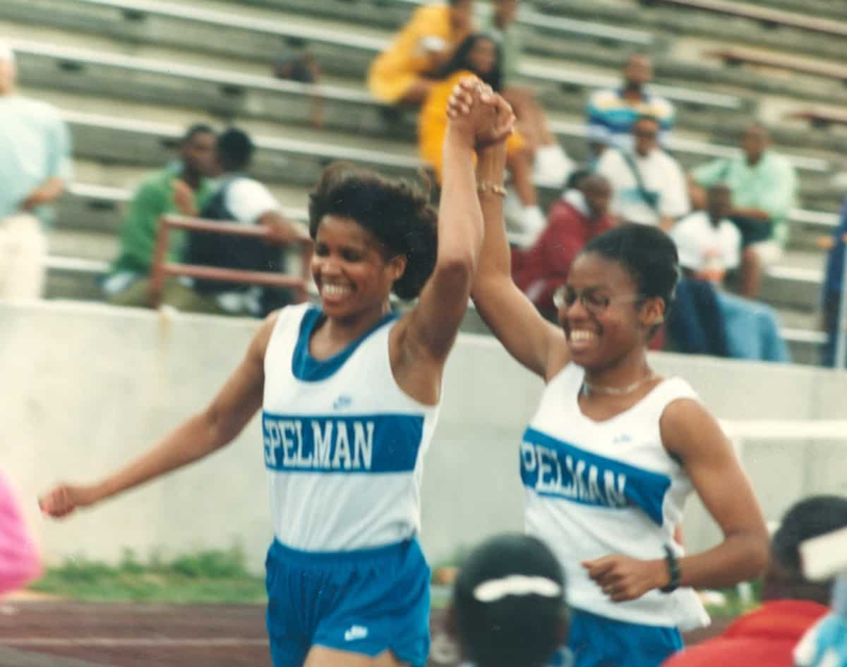 Spelman students at a track meet, 1990s. Courtesy of Spelman College Archives