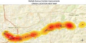 DeKalb Avenue crash map