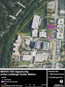 MARTA has asked developers to recommend projects that could be built on the two sites shaded purple on this map. The property facing Piedmont Road remains privately owned and once had a Shoney's restaurant. The property facing Morosgo Drive is owned by MARTA and houses a small building. Credit: MARTA