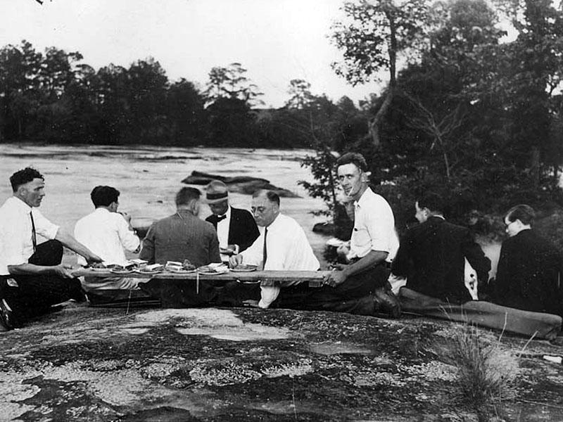 Roosevelt found hope and a purpose in Georgia. Here, he and friends enjoy a picnic by the warm springs. Courtesy of the Franklin D. Roosevelt Presidential Library and Museum