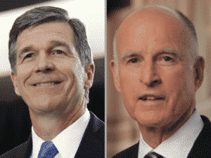 North Carolina Gov.-elect Roy Cooper (left) and California Gov. Jerry Brown preside over states that underscore the growing divide among states and the federal government.