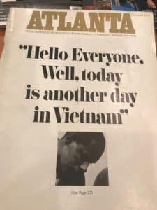An Atlanta Magazine cover from December 1966 when it was a publication of the Atlanta Chamber of Commerce. The cover story was about the war in Vietnam - showing it has been a solid news magazine since its inception (Photo by Maria Saporta)
